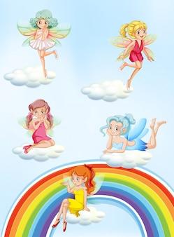 Eine reihe von bunten fairy