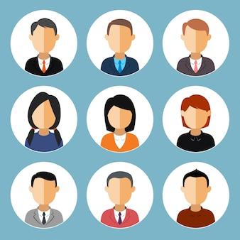 Eine reihe von business-avataren mädchen und jungen.