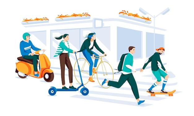 Eine reihe von charakteren, die ein elektrofahrzeug fahren menschen laufen mit rollern, fahrrädern, skateboards