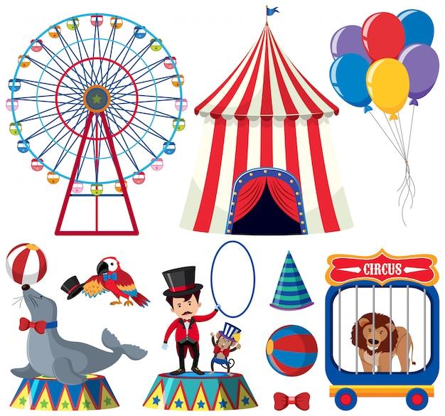 Eine reihe von circus animal show