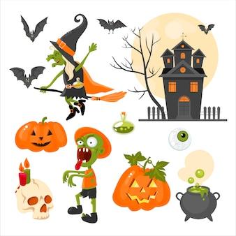 Eine reihe von cliparts zum thema des feiertags halloween. hell. flaches design
