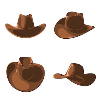 Eine reihe von cowboyhüten.