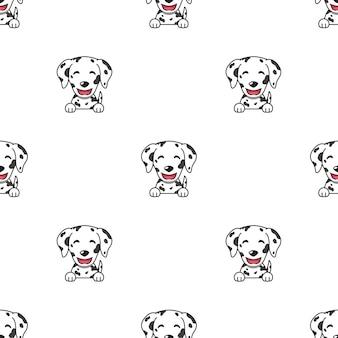 Eine reihe von dalmatinischen hundegesichtern, die verschiedene emotionen für das design zeigen.