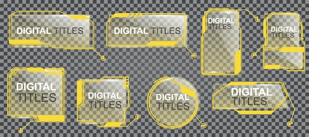 Eine reihe von digitalen beschriftungen in verschiedenen formen in gelb