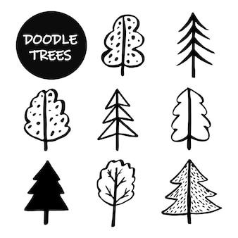 Eine reihe von doodle-bäumen. handgezeichnete kontur-doodle-bäume für aufkleber, verpackungen, kosmetikdesign