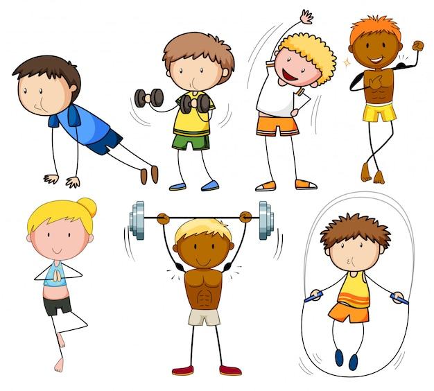 Eine reihe von doodle-kindern trainieren