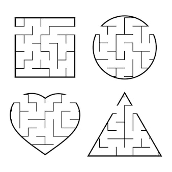 Eine reihe von einfachen labyrinth-arbeitsblättern für kinder