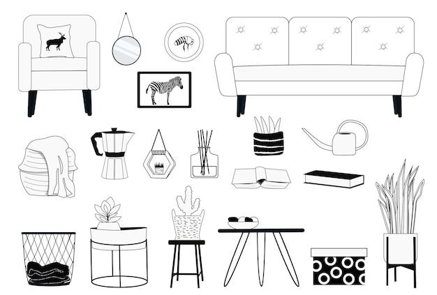 Eine reihe von einrichtungsgegenständen, möbeln, zimmerpflanzen und dekorativen elementen in einem linearen stil.