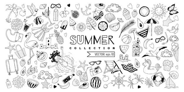 Eine reihe von elementen für den sommer.