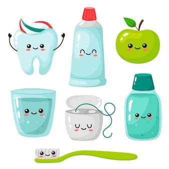 Eine reihe von elementen für gesunde zähne zahnbürste zahnpasta mundwasser zahnseide glas wasser apfel kawaii zahn im cartoon-stil