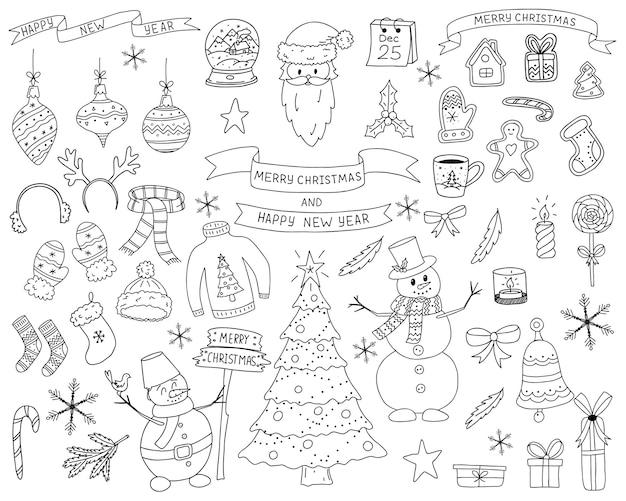 Eine reihe von elementen im doodle-stil. sammlung von elementen des neuen jahres und des weihnachtsdesigns. die skizze ist handgezeichnet und auf weißem hintergrund isoliert. umrisszeichnung.