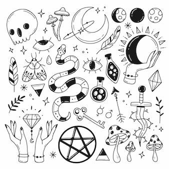 Eine reihe von elementen zum thema magische esoterik-astrologie im doodle-stil