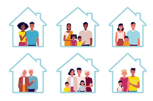 Eine reihe von familien verschiedener nationalitäten bleiben zu hause. verschiedene familien, jung und alt, mit und ohne kinder. menschen zu hause
