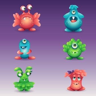 Eine reihe von farbigen cartoon-monstern