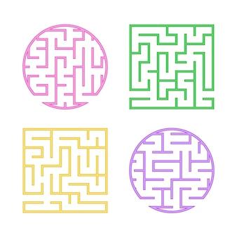 Eine reihe von farbigen labyrinthen für kinder. ein quadratisches, rundes labyrinth.