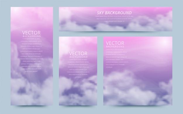 Eine reihe von flyer mit realistischen himmel und cumuluswolken.
