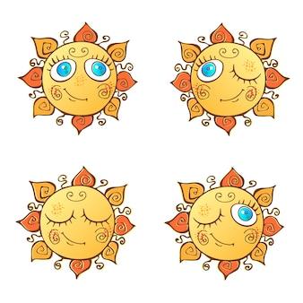 Eine reihe von fröhlichen sonnen im cartoon-stil.