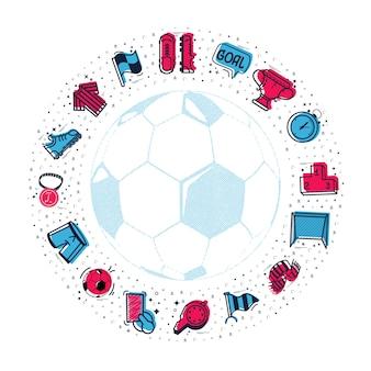 Eine reihe von fußball-icons