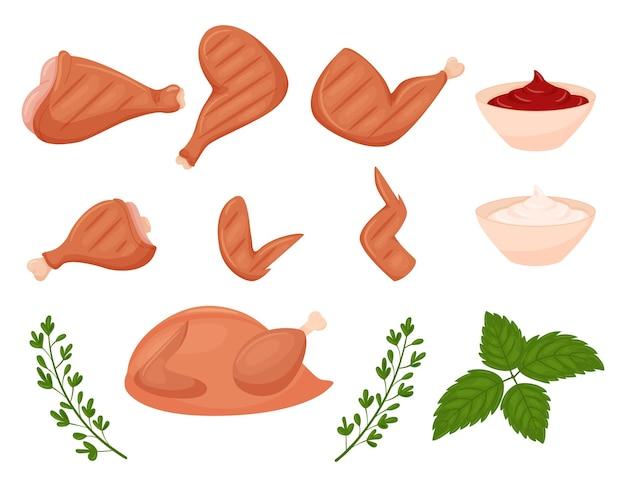 Eine reihe von gegrillten hühnerzutaten. gebratene hähnchenbrust, bein, flügel, schienbein. ein ganzes huhn.