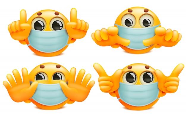 Eine reihe von gelben runden emoji-zeichen in weißen medizinischen masken. sammlung im cartoon-stil
