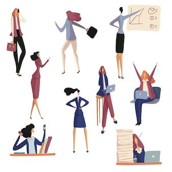 Eine reihe von geschäftsfrauen arbeiten und ruhen sich bei der arbeit aus. illustration