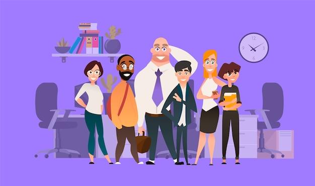 Eine reihe von geschäftsmerkmalen für unternehmer. teamarbeit cartoon illustration. verschiedene leute im hintergrund des büros.