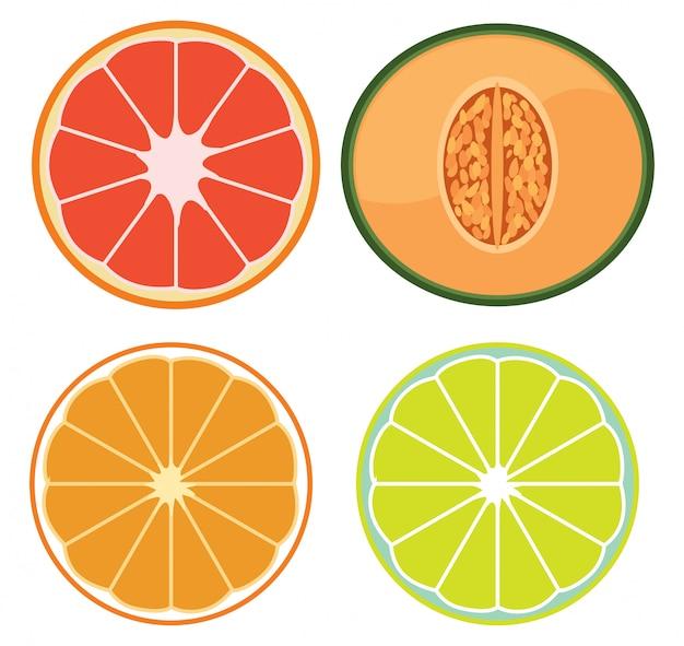 Eine reihe von geschnittenen früchten