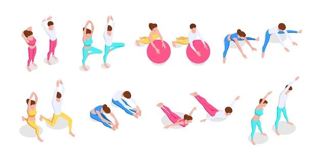 Eine reihe von gesichtslosen menschen, die fitness machen und sich dehnen. aktivitäten zu hause, zu zweit, gesunder lebensstil. isometrische vektorillustration lokalisiert auf weißem hintergrund.