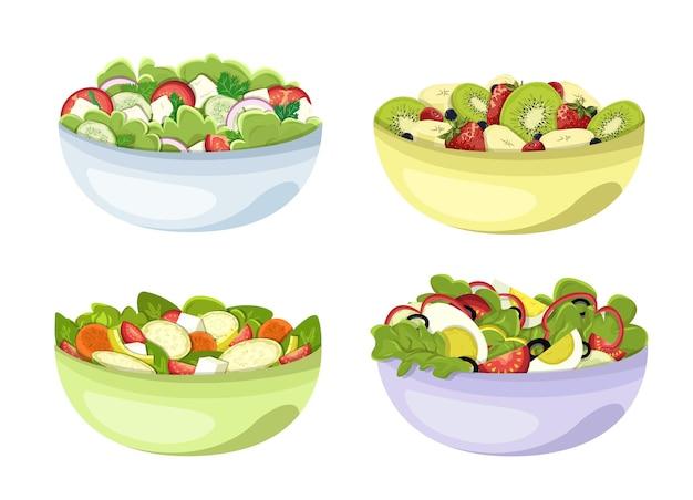 Eine reihe von gesunden salaten aus gemüse und obst in tellern