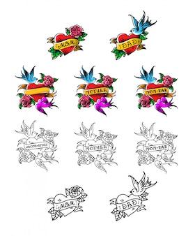 Eine reihe von glückwunsch-tattoos für mama und papa