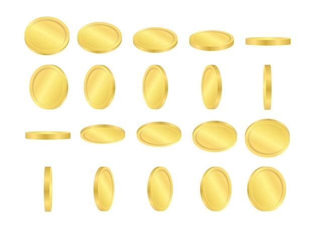 Eine reihe von goldmünzen in bewegung in verschiedenen positionen.