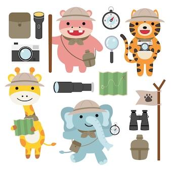 Eine reihe von großen isolierten tierabenteuer-reiseillustrationen, handgezeichnetem stil, wander- und campingkonzept mit reiseelementen.