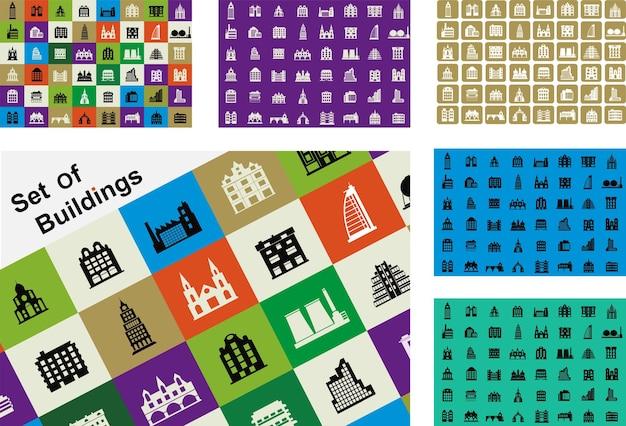 Eine reihe von häusern und gebäuden in verschiedenen formen und farben für design und kreativität