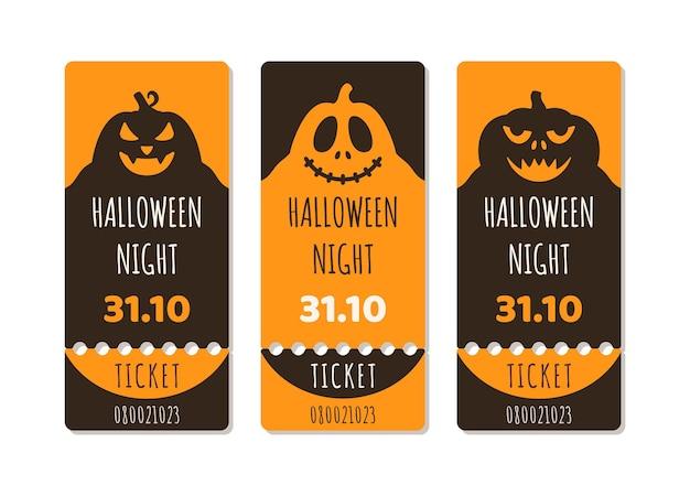 Eine reihe von halloween-tickets oder flyern für eine weihnachtsfeier mit kürbis, gruseligen bäumen, mond und monsterfledermäusen auf einem orangefarbenen hintergrund mit farbverlauf. vektor-illustration von drei schwarzen und roten tickets.