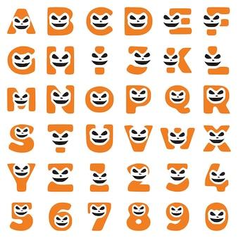 Eine reihe von halloween-zeichen in form von buchstaben und zahlen mit einem verrückten gesicht, vektorclipart.