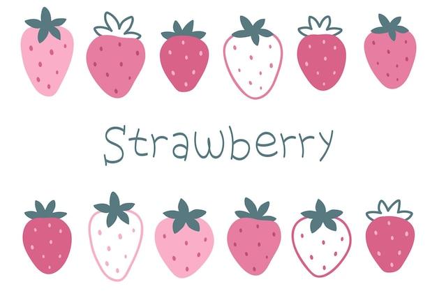 Eine reihe von handgezeichneten rosa erdbeeren