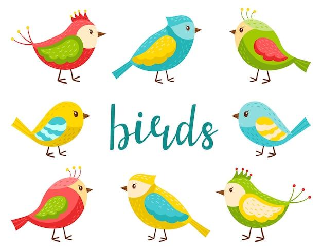 Eine reihe von hellen niedlichen vögeln. eine sammlung von cartoon-frühlingsvögeln im flachen stil. gestaltungselemente für frühlings-, sommer- und kinderthemen. farbvektorillustration lokalisiert auf einem weißen hintergrund