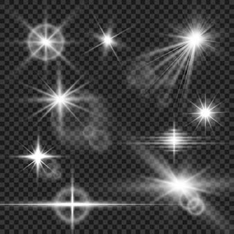 Eine reihe von hellen schönen sternen. lichteffekt. heller stern. schönes licht zur veranschaulichung. weihnachtsstern. weiße glitzer leuchten als besonderer lichteffekt. funkelt auf einem transparenten hintergrund.