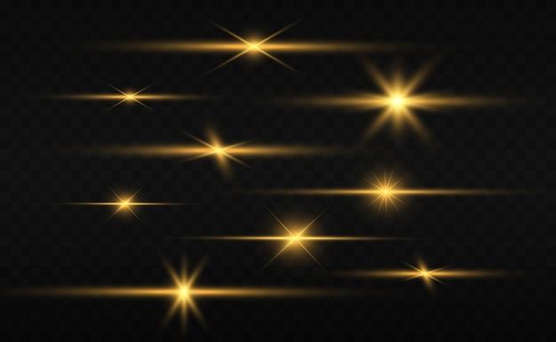 Eine reihe von hellen schönen sternen. lichteffekt. heller stern. schönes licht zur veranschaulichung.