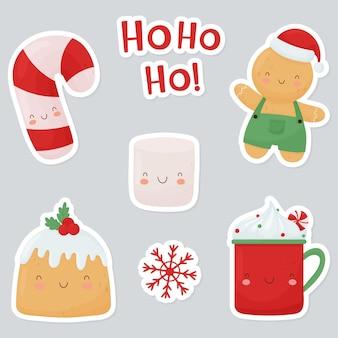 Eine reihe von hellen weihnachtsaufklebern. süße weihnachtsfiguren, tasse, kuchen, marshmallow, zuckerstange, lebkuchenmann.