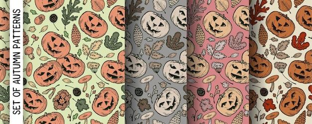 Eine reihe von herbstmustern mit kürbissen für halloween.