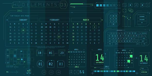 Eine reihe von hud-kalenderelementen für eine futuristische benutzeroberfläche.