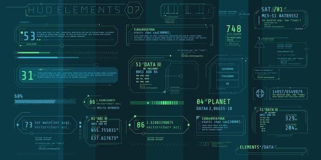 Eine reihe von hud-textelementen für eine futuristische oberfläche.