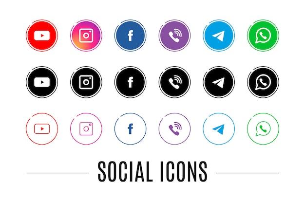Eine reihe von icons für soziale netzwerke