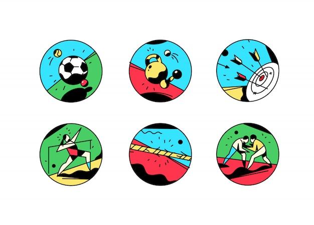 Eine reihe von icons über ein thema des sports