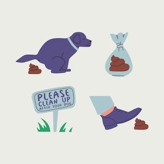 Eine reihe von illustrationen, die zum aufräumen aufrufen, nachdem ihr haustier niedlicher hund kackt, der einen fuß auf einen kot tritt