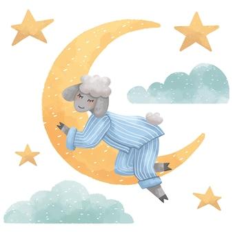 Eine reihe von illustrationen eines lammjungen, der nachts auf dem mond neben wolken und sternen schläft, für kinder für einen guten schlaf