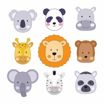 Eine reihe von illustrationen mit niedlichen tiergesichtern. wilde tiere für kinder im cartoon-stil.