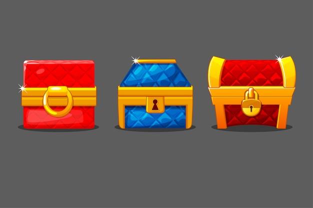 Eine reihe von isolierten weichen truhen in verschiedenen formen. farbige truhen mit schlössern.