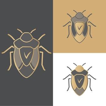 Eine reihe von käfern mit symbolen, symbolen und logos für antivirus, für mobile und computeranwendungen